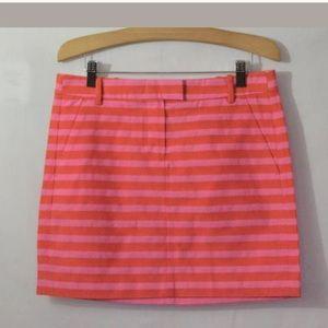 New J.Crew Orange Pink Striped Mini Skirt Size 4
